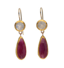 Moonstone and Ruby Earrings - New Arrival