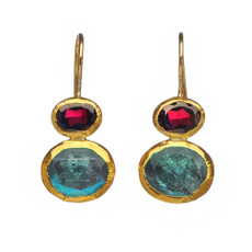 Treasure Garnet and Labradorite Earrings by Nava Zahavi - New Arrival