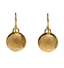 Golden Cognac Quartz Earrings - New Arrival