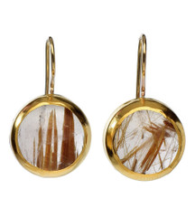 Golden Stripes Ruthilated Quartz Earrings - New Arrival