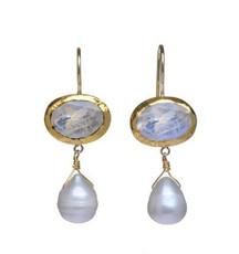 Memories Moonstone and Pearl Earrings - New Arrival