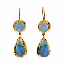 Moonstone and Labradorite Earrings by Nava Zahavi