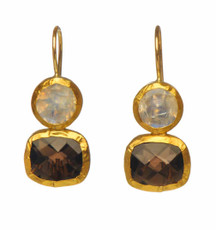 Mountain High Moonstone and Smoky Topaz Earrings by Nava Zahavi - New Arrival