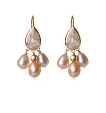 Pinkish Ruthilated Quartz and Pearl Earrings by Nava Zahavi - New Arrival