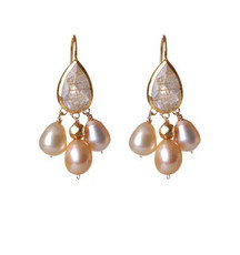 Pinkish Ruthilated Quartz and Pearl Earrings by Nava Zahavi - New Arrival