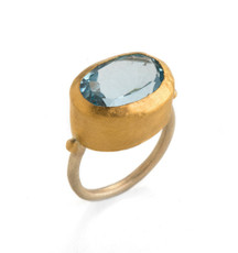 Express Yourself Blue Topaz Gold Ring by Nava Zahavi - New Arrival