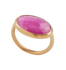 Statement Pink Sapphire Gold Ring - New Arrival