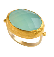 Brilliant Chalcedony Gold Ring by Nava Zahavi - New Arrival