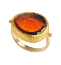 Firestone Hessonite Gold Ring by Nava ZahavI - New Arrival