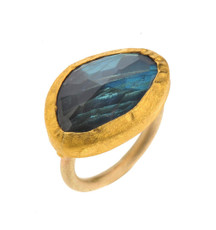 Moonshadow Labradorite Gold Ring by Nava Zahavi  - New Arrival