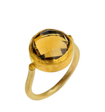 Beer Quartz Gold Ring by Nava Zahavi - New Arrival