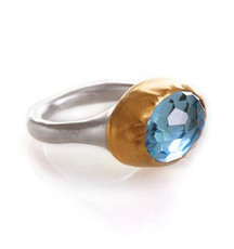 Peaceful Sky Blue Topaz Ring by Nava Zahavi - New Arrival