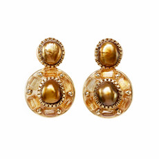 Michal Golan Citrine Circle Post Earrings