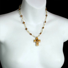 Michal Golan Citrine Faith Cross Necklace