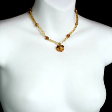 Michal Golan Citrine Round Pendant on Beaded Chain