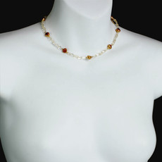 Michal Golan Citrine Single Strand Pearl Necklace
