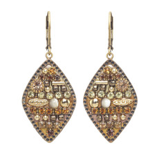 Michal Golan Citrine Small Diamond Earrings