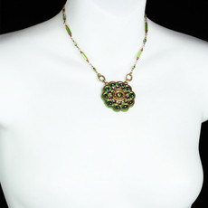 Michal Golan Green and Pink Flower Necklace