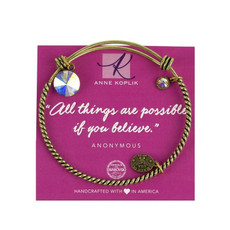 Anne Koplik Believe Crystal Charm Bangle