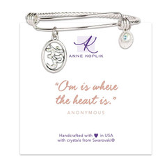 Anne Koplik Om Heart Charm Bangle