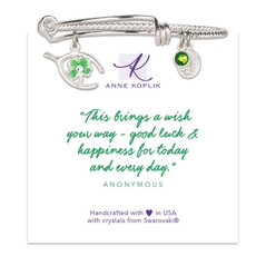 Anne Koplik Wishbone Clover Charm Bangle