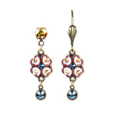 Anne Koplik Burgundy Enameled Earrings