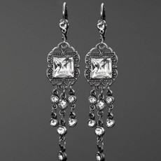 Anne Koplik Classic Vintage Style Chandelier Crystal Earrings