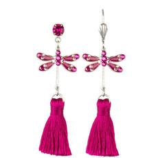 Anne Koplik Fuchsia Dragonfly Tassel Earrings