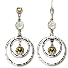 Anne Koplik Golden Shadow & White Opal Circular Drop Earrings