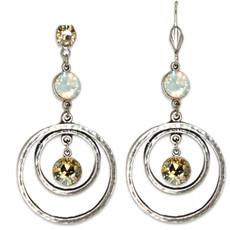 Anne Koplik Golden Shadow & White Opal Circular Drop Earrings