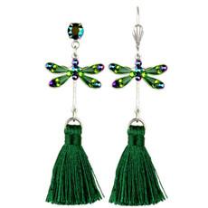Anne Koplik Green Dragonfly Tassel Earrings