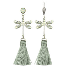 Anne Koplik Grey Dragonfly Tassel Earrings