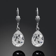 Anne Koplik Silver Crystal Teardrop Earrings