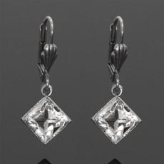 Anne Koplik Single Stone Square Crystal Earrings