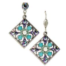 Anne Koplik White Opal Art Deco Inspired Square Earrings
