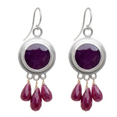 Nava Zahavi Silver Ruby Kiss Earrings