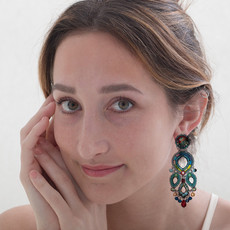 Ayala Bar Turquoise Crown Red Pelican Earrings