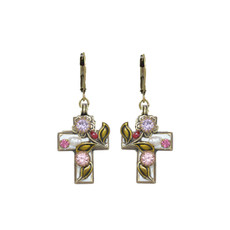 Michal Golan Pearl Blossom Cross Earrings