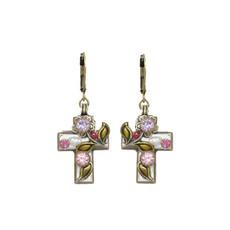Michal Golan Pearl Blossom Cross Earrings