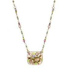 Michal Golan Pearl Blossom Squre Necklace