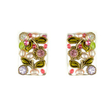 Michal Golan Pearl Blossom Small Rectangle Earrings