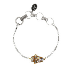 Michal Golan Gold and Gray Hamsa Bracelet with Chain Strap