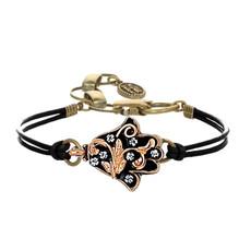 Michal Golan Black and Gold Ornate Hamsa Bracelet