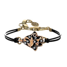 Michal Golan Black and Gold Ornate Hamsa Bracelet