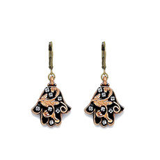 Michal Golan Black and Gold Ornate Hamsa Earrings