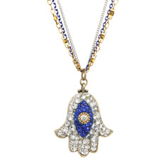 Michal Golan Dazzling Blue and Silver Hamsa Necklace