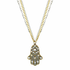 Michal Golan Large Grey and Gold Hamsa Necklace on triple chain
