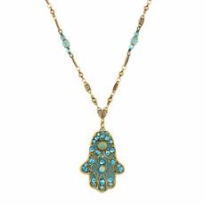 Michal Golan Large light blue hamsa necklace on single chain