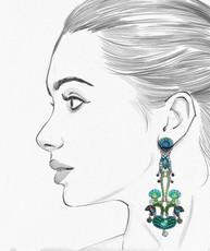 Ayala Bar Green River Chandelier Earrings