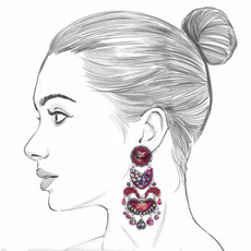 Ayala Bar Crimson Flame Wilting Rose Earrings